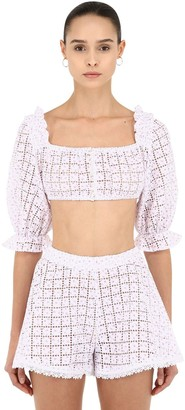 Printed Cotton Lace Crop Top