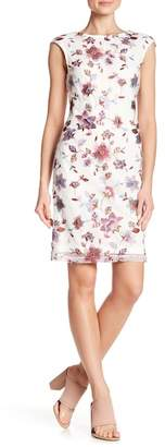 Donna Ricco Floral Embroidered Cap Sleeve Dress