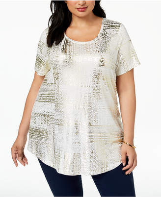 JM Collection Plus Size Ombré Metallic Top, Created for Macy's