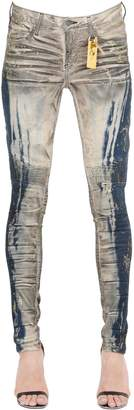 Slim Washed Denim Biker Jeans