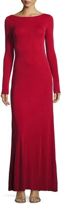 Vera Wang Cowl-Back Long-Sleeve Knit Gown, Red $199 thestylecure.com