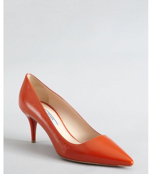Prada tangerine saffiano leather pointed toe pumps