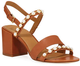 8b45d703218 Tory Burch Emmy Pearly Studded Block-Heel Sandals
