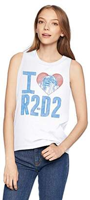 Star Wars Women's R2d2 Love Raw Edge Graphic Muscle Tank