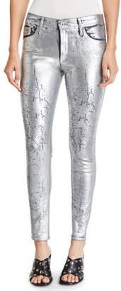 AG Jeans Farrah Metallic High-Rise Skinny Jeans