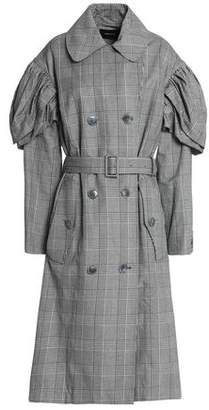 Simone Rocha Gathered Checked Cotton-Blend Trench Coat