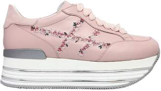 Hogan 70mm Maxi 222 Embroidery Leather Sneaker