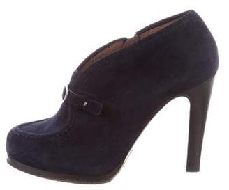Tabitha Simmons Suede Round-Toe Ankle Boots