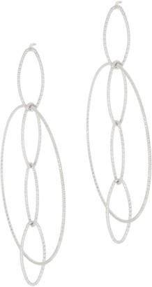 Italian Silver Diamond Cut Marquise Drop Circle Hoop Earrings