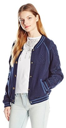 Juicy Couture Black Label Women's Sweater Embroidered Varsity Jacket $348 thestylecure.com