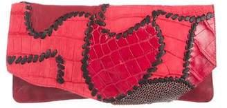 Balmain Leather & Crocodile Patchwork Clutch