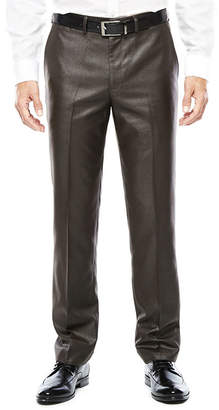 Jf J.Ferrar JF Men's Charcoal Black Plaid Flat-Front Slim Fit Suit Pants