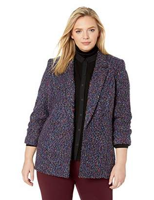 Nine West Women's Plus Size 4 Button Notch Collar Double Breasted Tweed Jacket