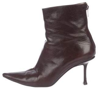 Jimmy Choo Pointed-Toe Leather Booties