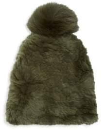 Saks Fifth Avenue Dyed Rabbit & Fox Fur Beanie