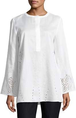 Lafayette 148 New York Hasley Embroidered Linen Blouse