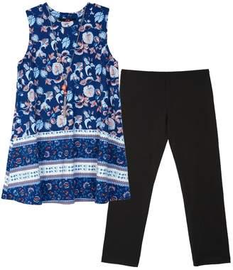 Amy Byer Iz Girls 7-16 & Plus Size IZ Printed Tunic & Solid Leggings Set with Necklace