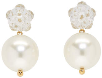Simone Rocha Transparent Flower and Pearl Earrings