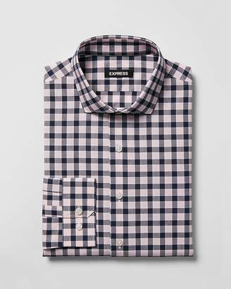 Express Slim Plaid Spread Collar Dress Shirt