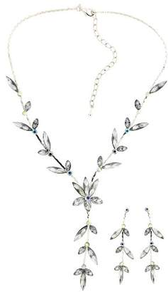 Camilla And Marc Jodie Rose Crystal Leaf Necklace and Earrings Set of Length 38 cm