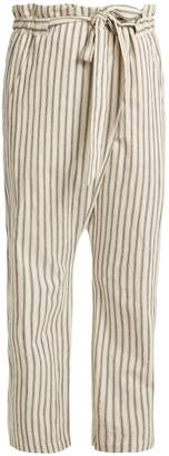 Paper-bag waist striped trousers