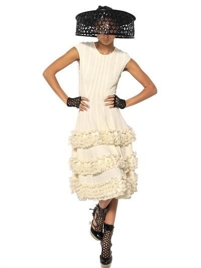 Alexander McQueen Silk Lace Ruffles On Viscose Knit Dress
