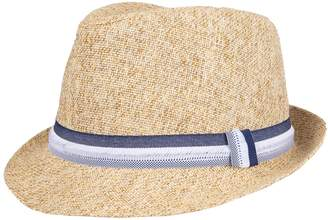 Dockers Men's Two-Tone Straw Fedora with Striped Band