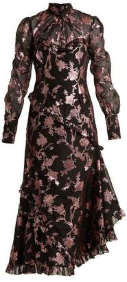 Erdem Faylin Floral Fil Coupe Dress - Womens - Black Pink