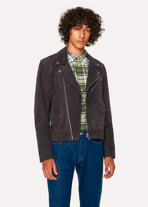 Paul Smith Men's Slate Grey Suede Leather Asymmetric-Zip Biker Jacket