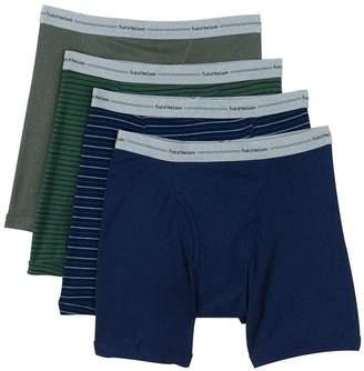 Fruit of the Loom Men's 4Pack Black Grey Boxer Briefs 100% Cotton Underwear 3XL