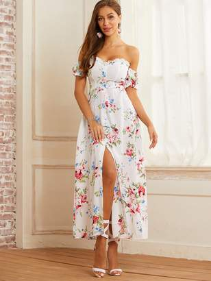 Shein SBetro Off Shoulder Floral Frill Trim Split Thigh Dress