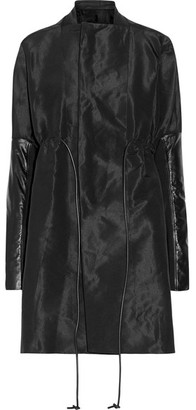 Rick Owens - Leather-trimmed Faille Coat - Black $1,860 thestylecure.com