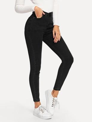 Shein Plain Pocket Side Skinny Jeans