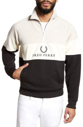 Fred Perry Embroidered Panel Quarter Zip Pullover