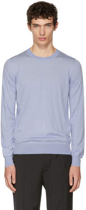 Brioni Blue Basic Wool and Cashmere Sweater