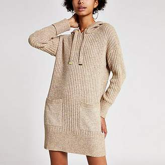River Island Camel long sleeve rib knitted hoodie dress