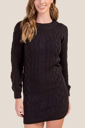 2503b7d9354e francesca's Josie Cable Knit Sweater Dress - Black