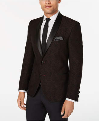 Nick Graham Men Slim-Fit Burgundy Jacquard Dinner Jacket, Online Only