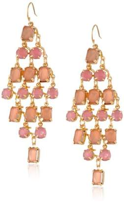 Peach and Light Rose Kite Chandelier Gold Tone Earrings