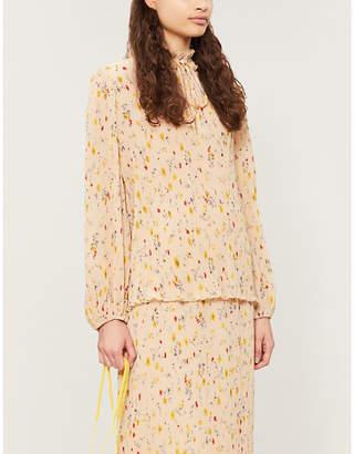 Ganni Floral-print pleated blouse