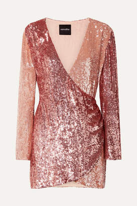 Retrofête - Christine Wrap-effect Sequined Satin Mini Dress - Rose gold