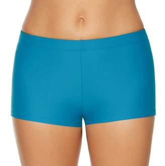 Couture Women's Aqua Solid Boyshort Swim Bottoms