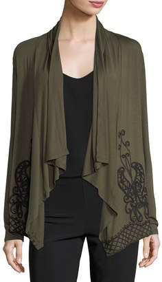 Neiman Marcus Embroidered Open-Front Cardigan