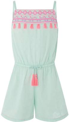 Accessorize Girls Tulum Tassel Embroidered Playsuit