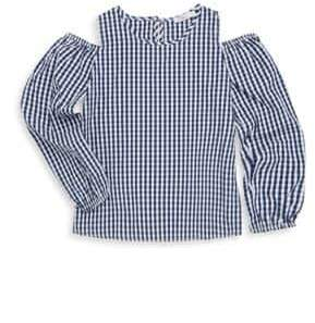 Pinc Premium Girl's Gingham Cold-Shoulder Top