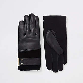 River Island Black leather gold tone gloves