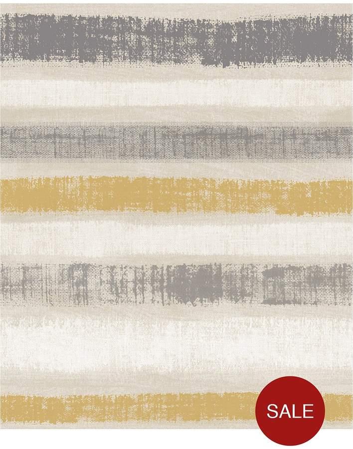 ARTHOUSE Painted Stripe Grey & Ochre Wallpaper
