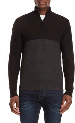 Calvin Klein Color Block Textured Zip Sweater