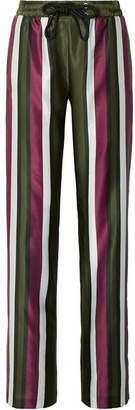 Burberry Striped Cotton And Silk-blend Satin Straight-leg Pants - Army green