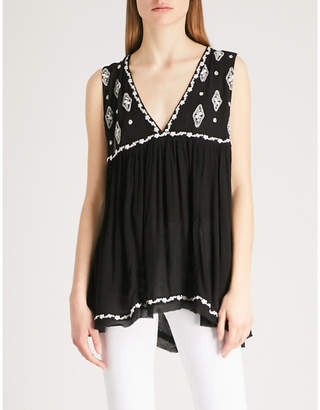 Free People Embroidered V-neck woven top